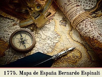 1775, MAPA DE LAS CARRERAS DE POSTAS DE ESPAÑA. BERNARDO ESPINALT Y GARCÍA