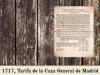 TARIFA DE 1717 EN EL CORREO GENERAL EN MADRID