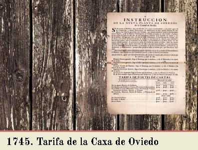 TARIFA DE 1745 EN EL OFICIO DE CORREO DE OVIEDO
