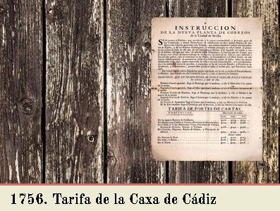 TARIFA DE 1756 EN EL OFICIO DE CORREO DE CADIZ