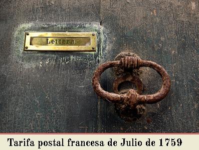 LA TARIFA POSTAL FRANCESA DE JULIO DE 1759