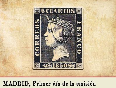 MADRID, PRIMER DIA DE LA EMISIÓN POSTAL DE 1 DE ENERO DE 1850