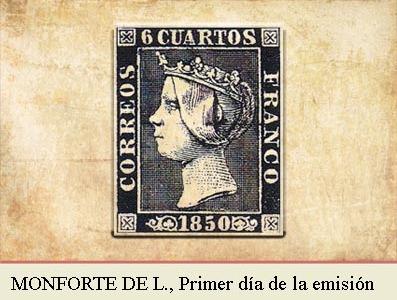 MONFORTE DE LEMOS, PRIMER DIA DE LA EMISIÓN POSTAL DE 1 DE ENERO DE 1850